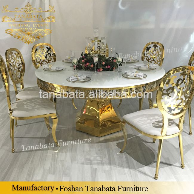 Concise Desgin Led Light Marble Mdf Top Gold Base Dining Table Set