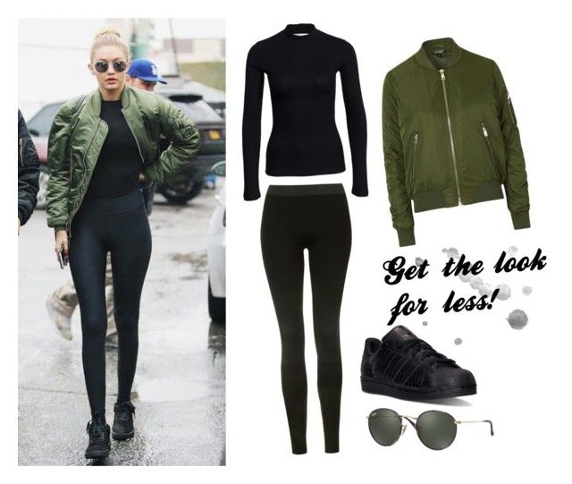 """Gigi Hadid : get the look for less!"" by mariapap624 on Polyvore featuring Topshop, NLY Trend, adidas and Ray-Ban"