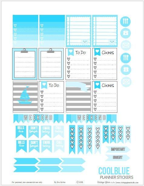 Cool Blue Planner Stickers   Free planner printable suitable for Erin Condren planners and other weekly planners.