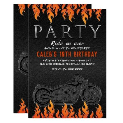 Black Leather Orange Flames Motorcycle Biker Party Card - invitations custom unique diy personalize occasions