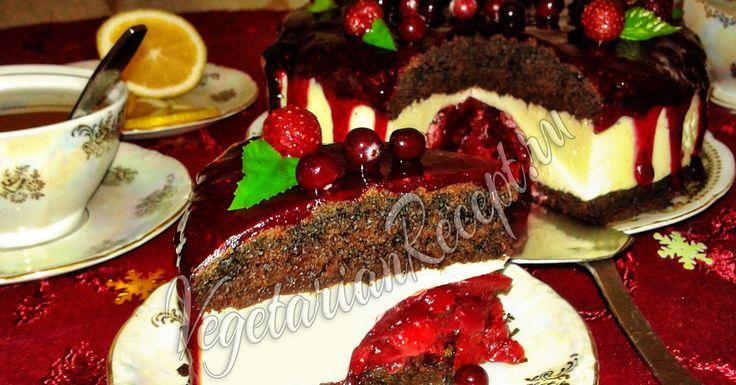 Вкуснейший домашний чизкейк (без яиц) с печеньем или бисквитом, с ягодной начинкой и глазурью.