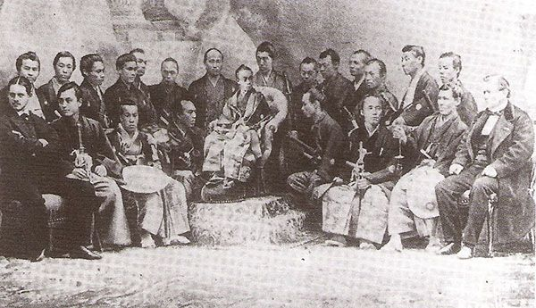 World's Fair of 1867 The Japanese delegation around Tokugawa-Akitake, illustration from the Monde Illustré, 1867.