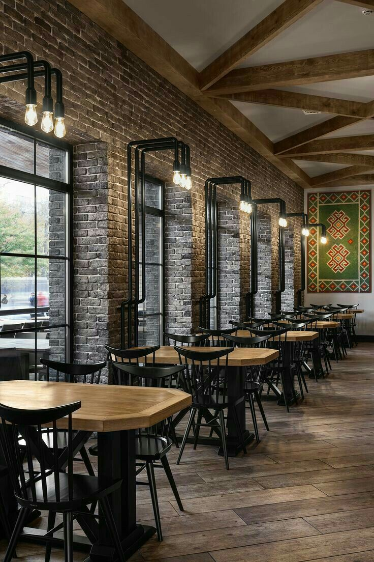 Best 25 industrial restaurant ideas on pinterest for Interior cafe designs