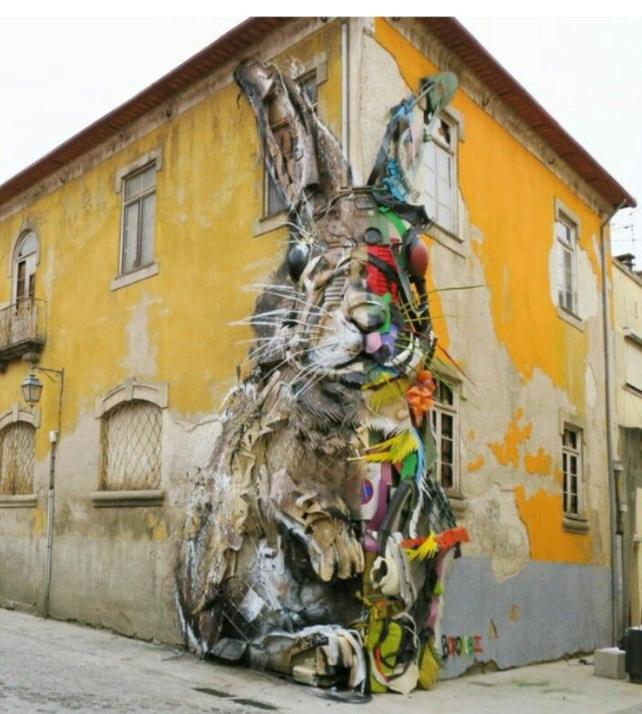 Half Rabbit by Bordalo Il, located in Vila Nova de Gaia, Portugal