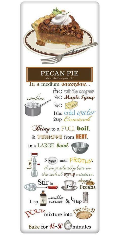 Southern Pecan Pie Recipe 100% Cotton Flour Sack Dish Towel Tea Towel