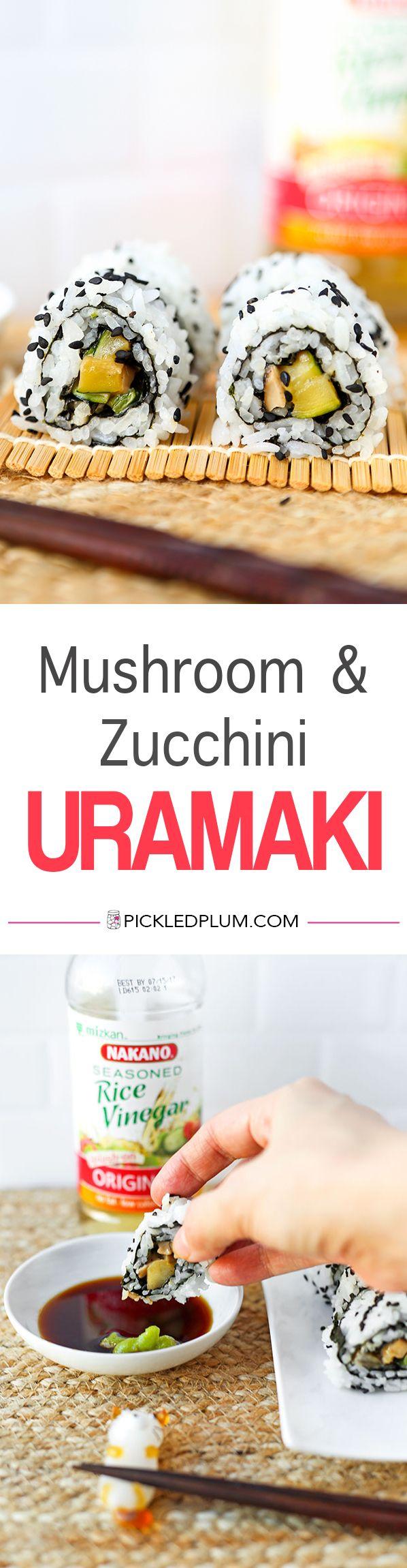 Mushroom & Zucchini Uramaki Rolls ( Inside Out Rolls) - recipe, Japanese food, sushi, onigiri, maki rolls, vegetables, #ad