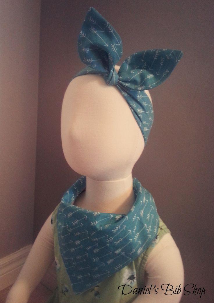 Handmade teal & arrows baby bandana bib