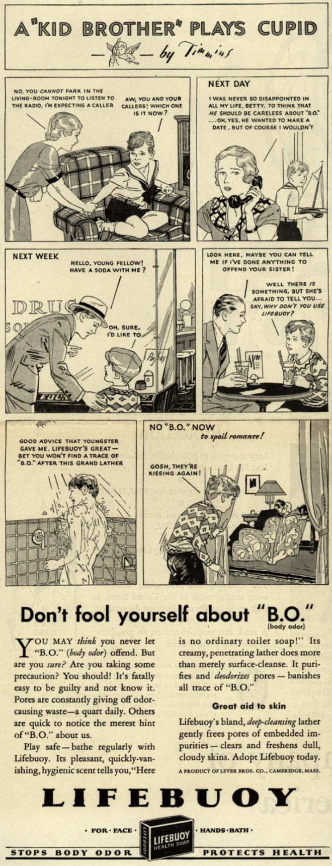 """Lever Brothers Company's Lifebuoy Health Soap – Don't fool yourself about """"B.O."""" (1932)"""