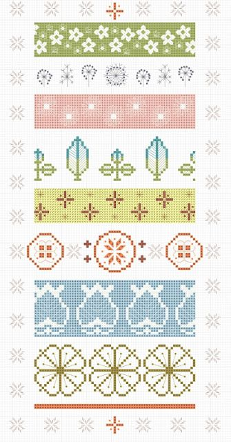 New free cross stitch chart at Hancock's House of Happy: Vintage Pyrex Pattern Sampler