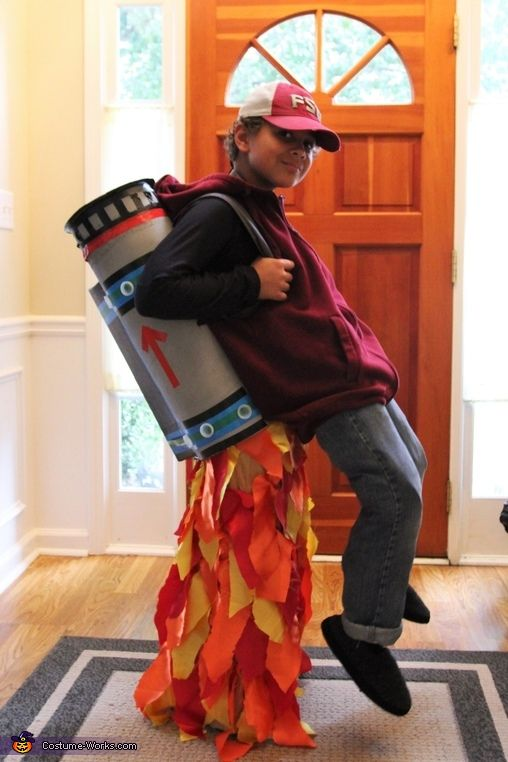 Lauren: This is my 9 year old sonhe wanted a costume with an illusion this year, so we went with a flying jet pack! He is wearing a skirt (shhh!) with...