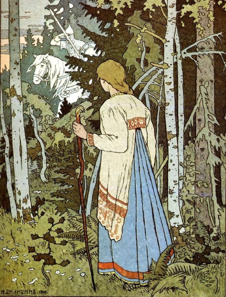 "The White Horseman (an illustration for ""Vasilisa the Beautiful"")  Ivan Bilibin  1900"