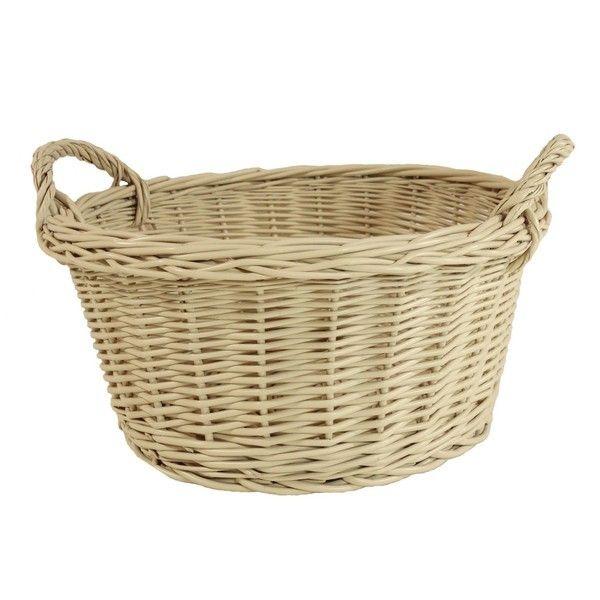 Kremowy okrągły koszyk z uszkami
