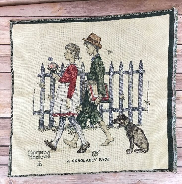 """Norman Rockwell Young Love Series A Scholarly Pace 18"""" Wall Art Tapestry Fabric"""