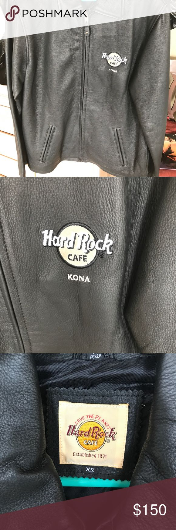 """Leather jacket. Hard Rock Cafe Kona Perfect condition. Worn once. Says xs though I'm 5""""8"""" fits just fine Jackets & Coats"""