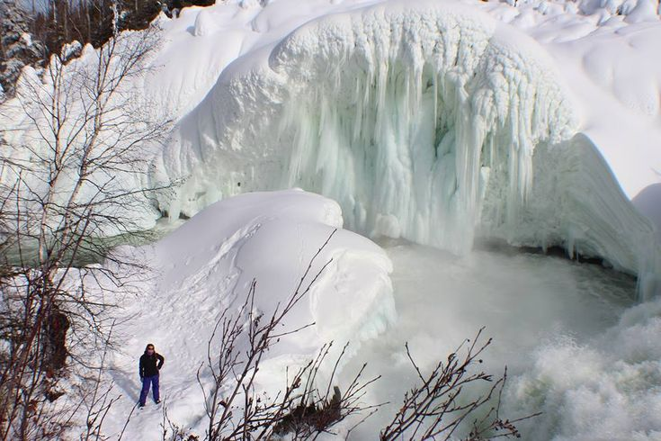 How beautiful is the ice wall at the base of Nistowiak Falls near Stanley Mission/La Ronge in Northern Saskatchewan?!