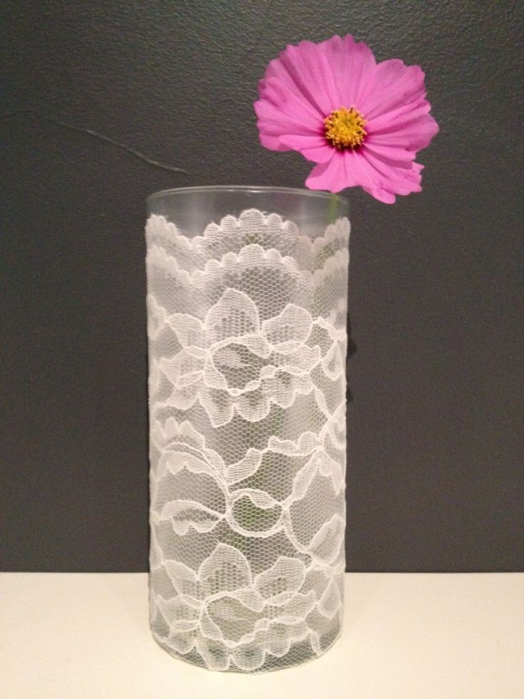 DIY Lace Vase with modge podge