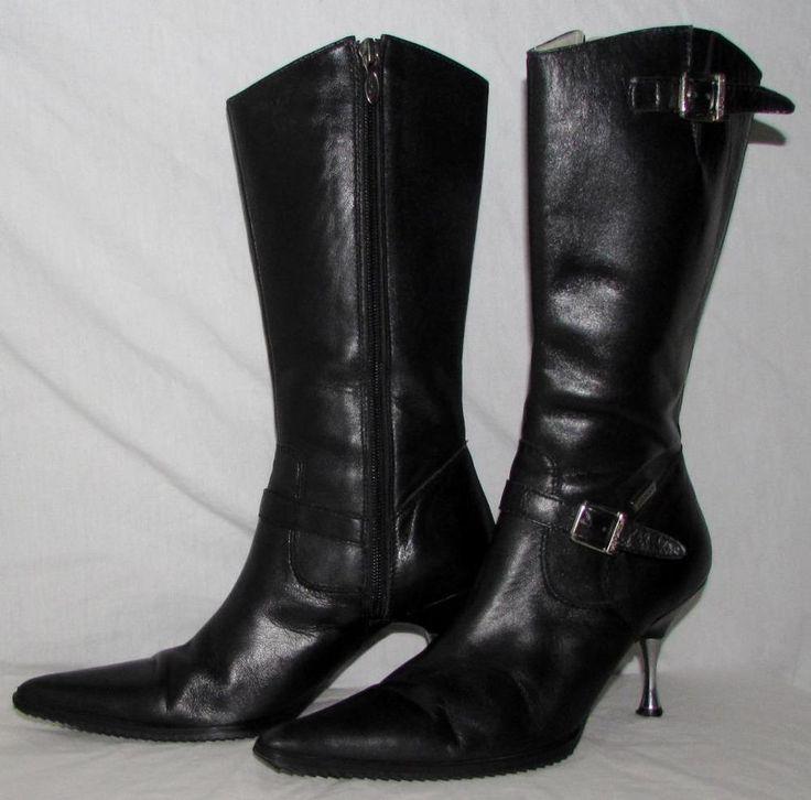 "Women Harley Davidson 100% Leather Stiletto 3"" Heel Black Sexy Boots sz 5.5 EUC…"