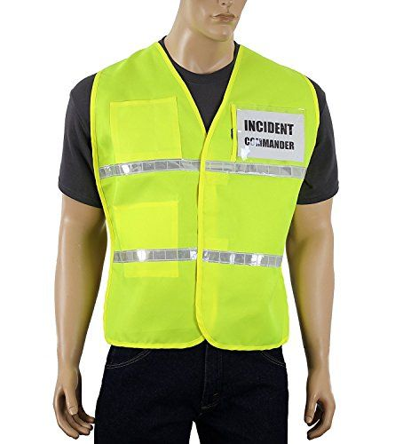 Safety Depot Incident Commander Vest with Front and Back Clear Pockets for Titles or Laminated Logos Velcro Closure Hi-Vis Lime Reflective Safety Vest (Large/XL) Safety Depot IC100