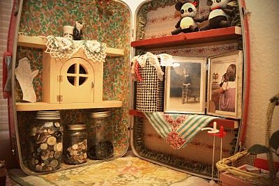 Maybe for my buttons- hang them inside instead of shelves?    Suitcase shelves - As a kid I created dollhouses out of old suitcases... this really brings me back! #kids #childhood #repurpose