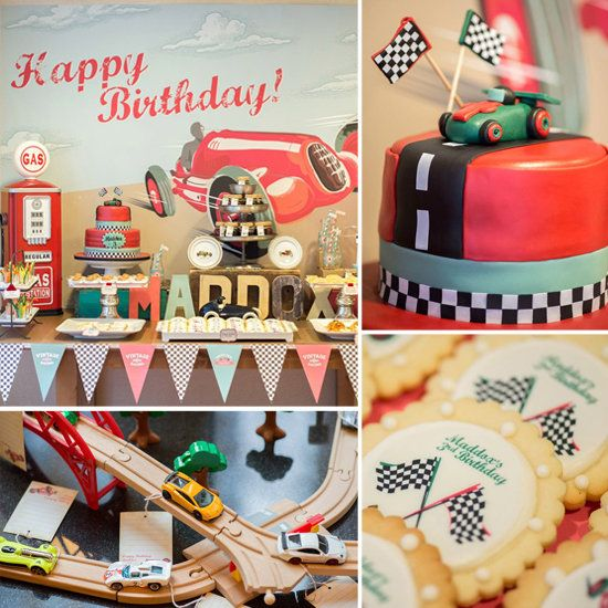 "A Vintage Race Car Birthday Party ""Once in a while there is a party, with a capital 'P,' where every little piece just falls into place,"" New York event planner Keren Precel says. ""This 3-year-old's race car birthday party was one of those."" The totally eco-friendly party was divided into four sections: the ""pit stop,"" where the kids got to decorate their own Melissa"