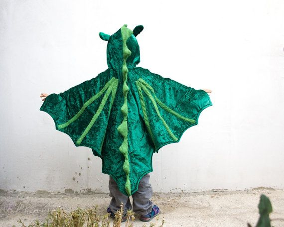 Dragon Costume, Kid Birthday Party Costume, Party Fairy Tale Dragon Green Costume, Halloween Costume with Wings for Boys or Girls