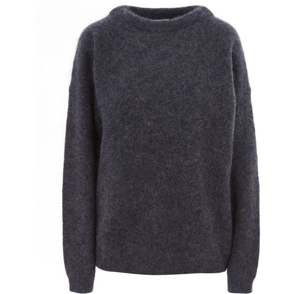 Acne Studios Navy Dramatic Mohair Classic Jumper ($300) ❤ liked on Polyvore featuring tops, sweaters, navy blue sweater, blue collared shirt, long-sleeve shirt, mohair sweaters and long sleeve collared shirts