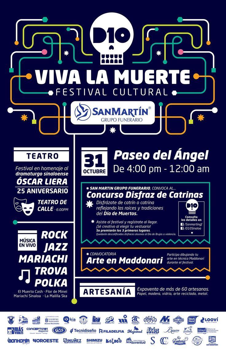 """#SanMartínGrupoFunerario y #D10 te invitan al """"Festival Cultural Viva la Muerte"""" en El Paseo del Ángel el próximo 31 de Octubre. Participa en el concurso de disfraces de Catrinas y Catrines, se premiarán a los 3 primeros lugares. ¡Asiste con tu familia y celebremos las tradiciones mexicanas!"""