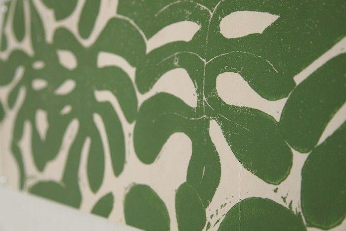 Beautiful block printed wallpaper.  Click through for more.