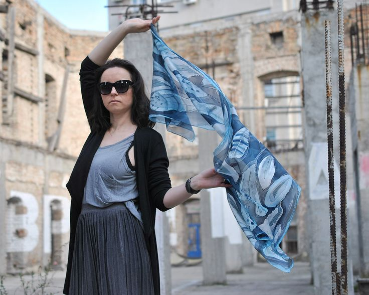 Excited to share the latest addition to my #etsy shop: Silk scarf Feathers Hand Painted Blue Gray Silver Long Silk Shawl Handpainted Feather scarf silk shawl painted Unique Christmas female gift http://etsy.me/2zqCR4x #accessories #scarf #silver #engagement #mothersday #blue #sil