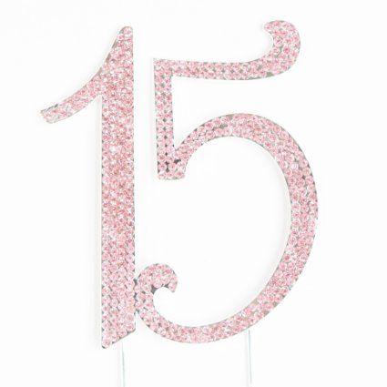 Amazon.com: Pink Rhinestone Quinceanera Number 15 Cake Topper - Metal Fifteenth Birthday Quinceañera Decoration