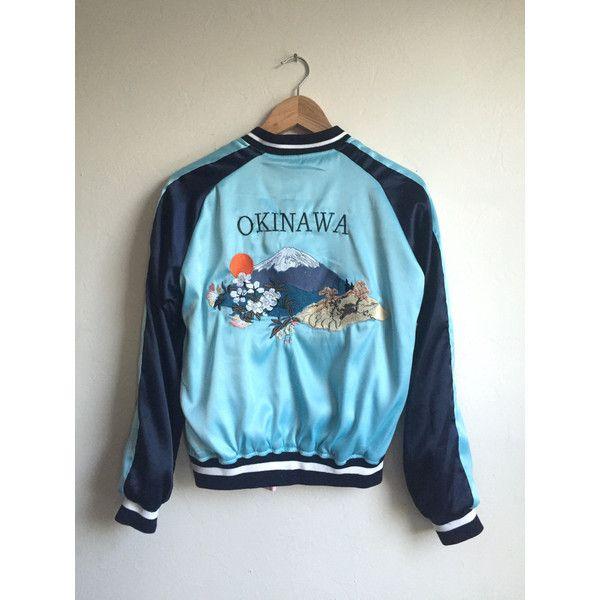 Reversible Embroidered Okinawa Bomber Jacket Sukajan Jacket Asian... ($110) ❤ liked on Polyvore featuring outerwear, jackets, grey, women's clothing, light weight jacket, embroidered bomber jacket, reversible bomber jacket, satin jackets and vintage jackets