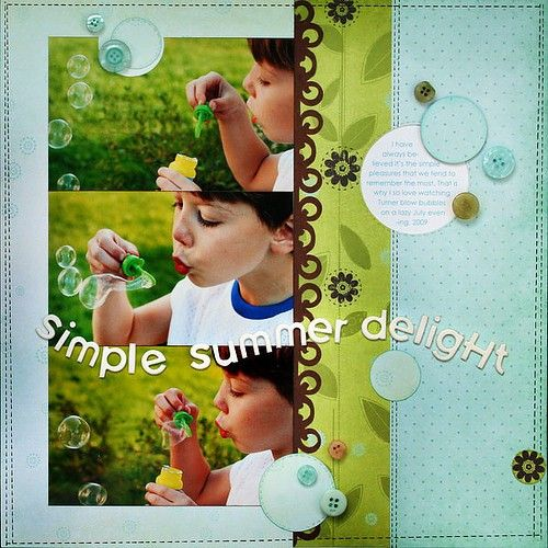love colors, with dark contrasting scallop boarderScrapbook Ideas, Colors Combos, Summer Delight, Scrapbook Pages Layout, Blowing Bubbles, Scrapbook Layout, Simple Summer, Photos Layout, Scrapbooking Layout
