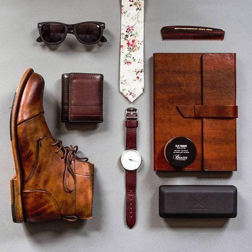 The everyday essentials   Sunglasses: @williampainter  Boot: @sutrofootwear  Comb + pomade: @baxterofca  Wallet: @fossil  Watch: @bottadesign  Watch strap: @wornandwound