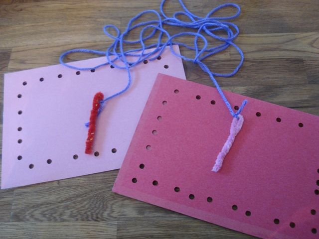Sewing cards for toddlers. Oh wow! I used to have a set of plastic shapes that had holes that you would sew with shoelaces or something. I LOVED those!  http://doodlesplace.net/preschool-activities/sewing-cards-for-toddlers-and-preschoolers