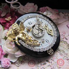 Bouton steampunk  ange musique horlogerie montre vintage
