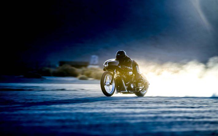 Download wallpapers Black Bullet Scout, 4k, custom bikes, superbikes, Bonneville