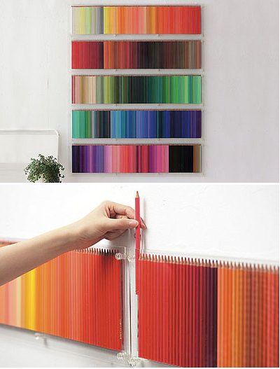 Decorate a plain wall with colored pencils.