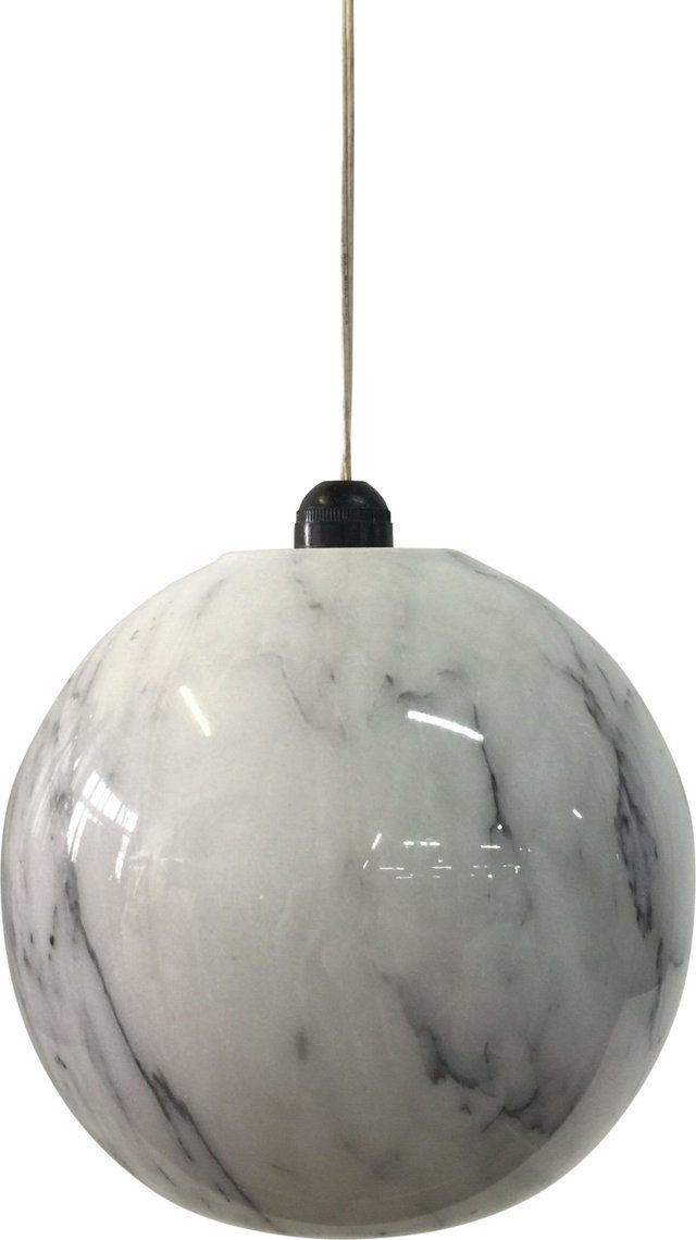 Midcentury Marble Globe Hanging Light