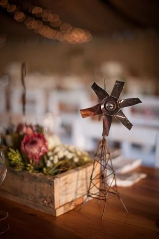 Windmills & Bunting Farm Wedding at Olive Grove | Confetti Daydreams - Windmill table decor ♥ #Wedding #Bunting #Windmills ♥  ♥  ♥ LIKE US ON FB: www.facebook.com/confettidaydreams  ♥  ♥  ♥