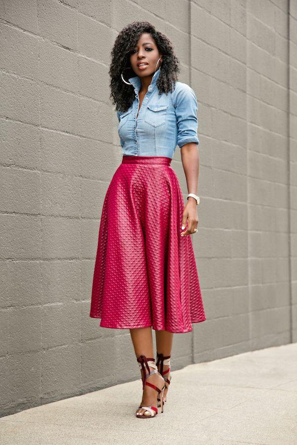 Fitted Denim Shirt + Swing Midi Skirt Style Pantry waysify