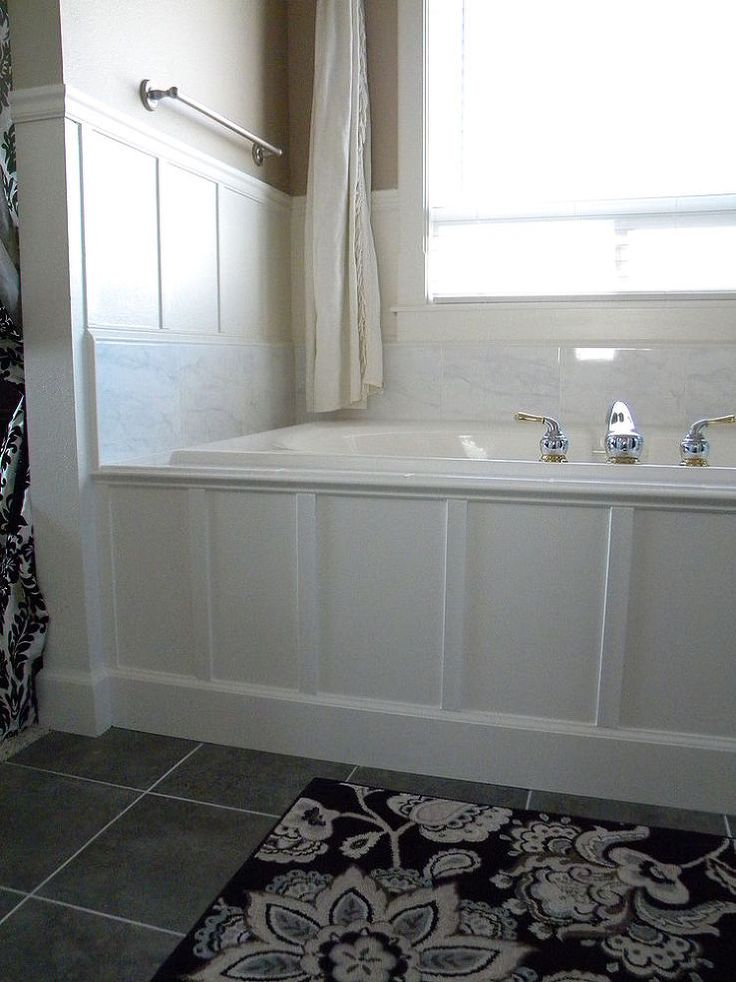 52 best images about bathroom on pinterest vanities diy for Wood tile tub surround