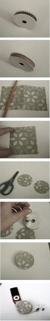 Running with Scissors: DIY: Earbud Holder -- uses a ribbon wheel