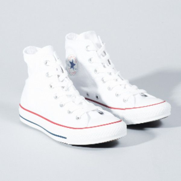 Converse White All Star Core Hi Trainers (£48) ❤ liked on Polyvore featuring shoes, sneakers, white hi tops, white high tops, converse high tops, rubber sole sneakers and star sneakers
