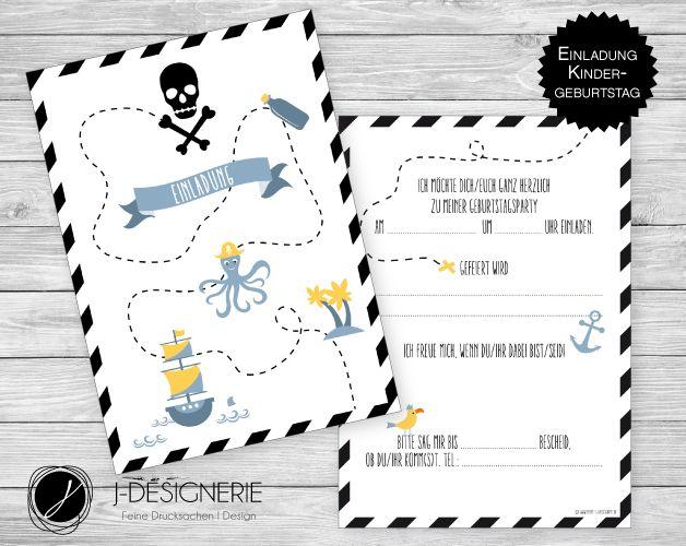 6 X Einladung ♥ KINDERGEBURTSTAG ♥ Schatzkarte