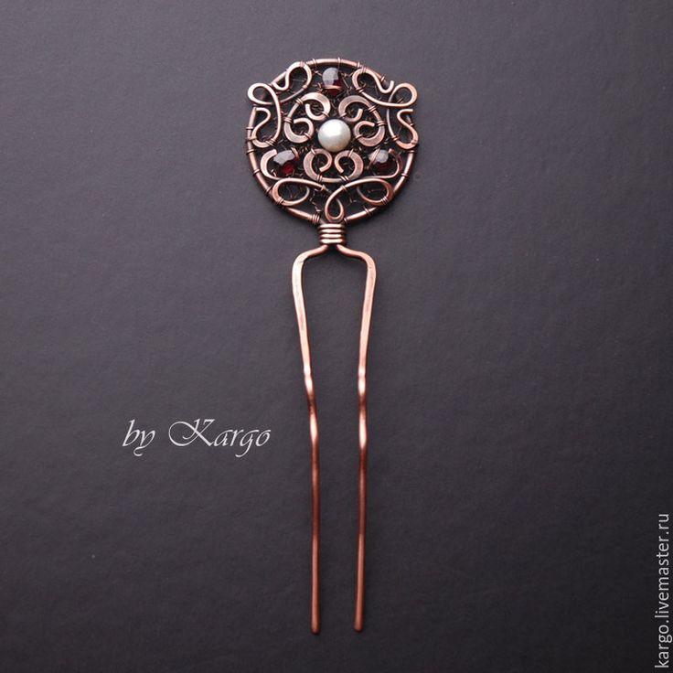 Купить Шпилька Russo - шпилька, подарок, медь, гранат, жемчуг, wire wrap, старинные украшения
