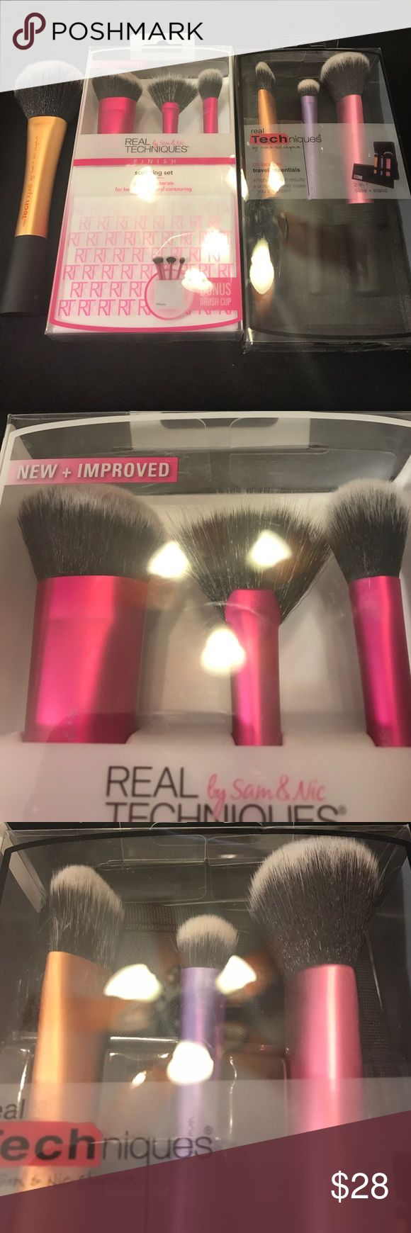 Real Techniques Brushes: New Sculpting Set/Travel Real Techniques Brushes: New Sculpting Set/Travel essentials. I added a new powder brush because the sets were missing it. Sculpting brush, fan brush, setting brush, brush cup, foundation or concealer brush, blush and Bronzer brush, and a shadow brush with a travel case included. All New Sephora Makeup Brushes & Tools