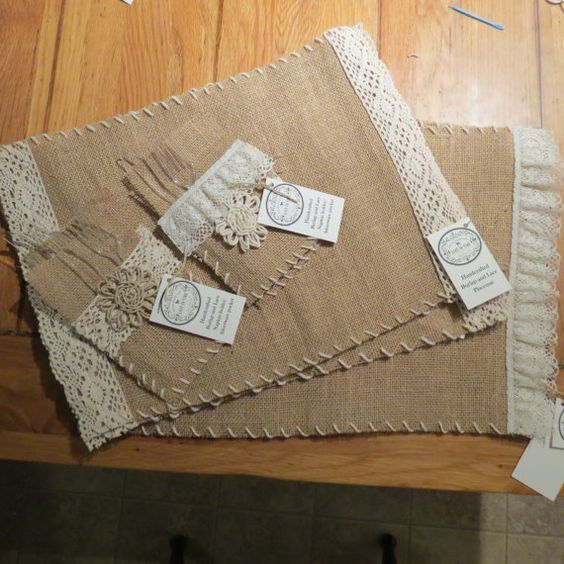 Burlap and Lace placemats with matching silverware pocket/napkin holder by LostinTimeNaturals: