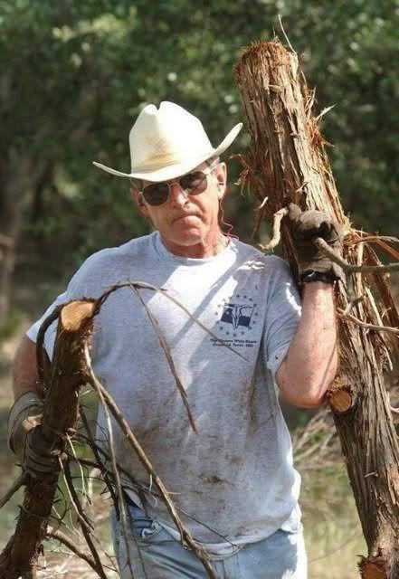 Real men clear brush - President George Bush
