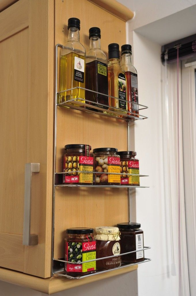 Kitchen Storage Rack ($26.99). See your kitchen products at a glance. Easy mount to kitchen cupboards inside or out.