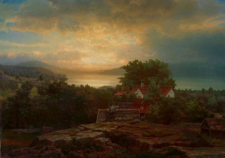 Evening by Lars Hertervig ,1855